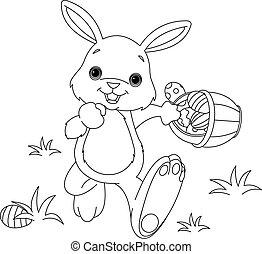 kolorowanie, jaja, królik, wielkanoc, strona, krycie