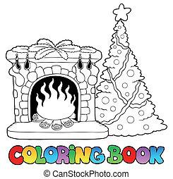 kolorowanie, kominek, książka