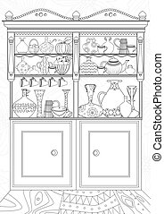 kolorowanie, kredens, książka, kuchnia, twój