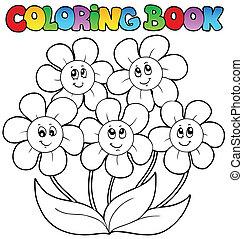 kolorowanie, kwiaty, piątka, książka