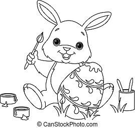 kolorowanie, malarstwo, królik, wielkanoc, strona, jajko