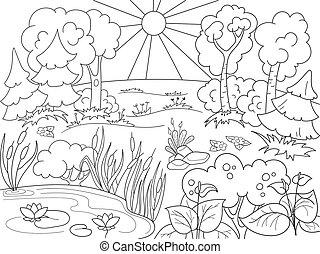 kolorowanie, nature., polana, książka, czarny las, biały, plants., rysunek