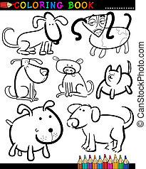 kolorowanie, psy, książka, rysunek, albo, strona