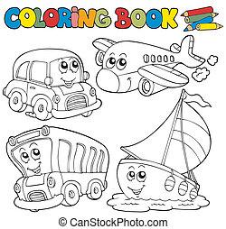 kolorowanie, różny, książka, pojazd