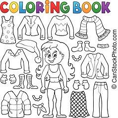 kolorowanie, temat, 2, dziewczyna, książka, odzież