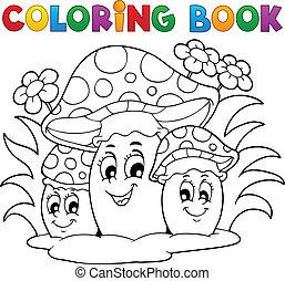 kolorowanie, temat, 2, książka, grzyb