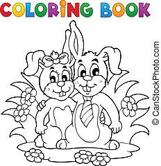 kolorowanie, temat, 2, książka, królik