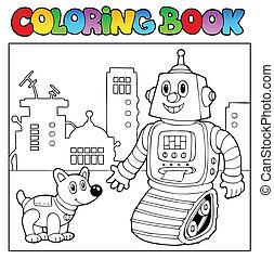 kolorowanie, temat, 2, książka, robot