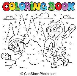 kolorowanie, temat, 2, książka, zima