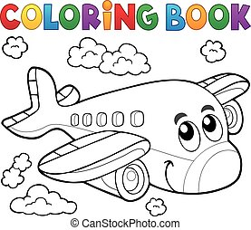 kolorowanie, temat, 2, samolot, książka
