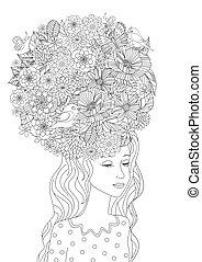 kolorowanie, twój, włosiany fason, dziewczyna, kwiaty, strona