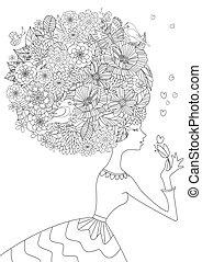 kolorowanie, twój, włosiany fason, kwiatowy, dziewczyna, książka