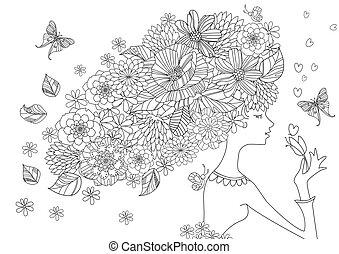 kolorowanie, włosy, książka, łania, dziewczyna, kwiaty, twój