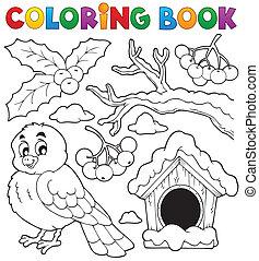kolorowanie, zima, 1, temat, książka, ptak