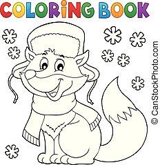 kolorowanie, zima, lis, 1, temat, książka
