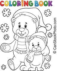 kolorowanie, zima, niedźwiedź, 1, temat, książka