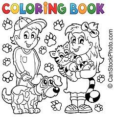 koloryt książka, pieszczochy, dzieci