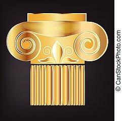 kolumna, gmach, złoty