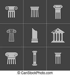 kolumna, komplet, czarnoskóry, wektor, ikony