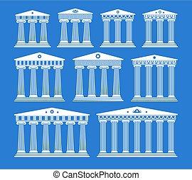 kolumny, starożytny, komplet, architektura, grek, wektor