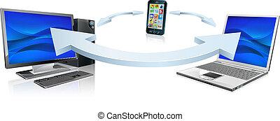 komórka głoska, laptop komputer, złączony