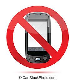 komórka, znak, nie, ilustracja, telefon