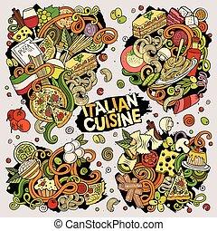 kombinacje, wektor, jadło, elementy, obiekty, doodles, ręka, barwny, pociągnięty, rysunek, komplet, włoski