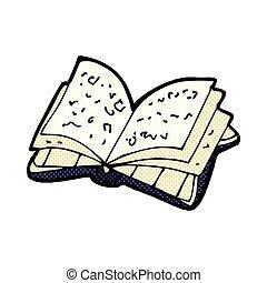 komik książka, otwarty, rysunek
