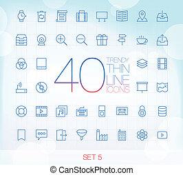 komplet, 5, cienki, 40, ikony