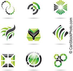 komplet, abstrakcyjny, ikony, zielony, 9, różny