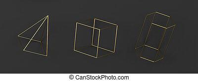 komplet, abstrakcyjny, na podsłuchu, primitives, geometryczny