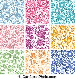komplet, abstrakcyjny, tła, seamless, wzory, dziewięć, kwiaty