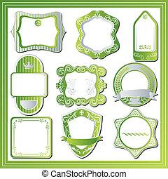 komplet, abstrakcyjny, zielony, etykiety