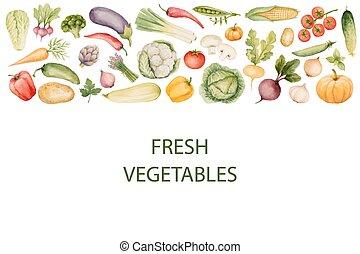 komplet, akwarela, vegetables.