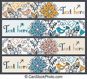 komplet, albo, cztery, chorągwie, poziomy, kwiatowy, szykowny, bookmarks, chorągwie