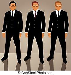 komplet, avatars, człowiek, garnitur