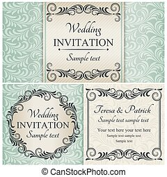 komplet, błękitny, barok, poślubne zaproszenie