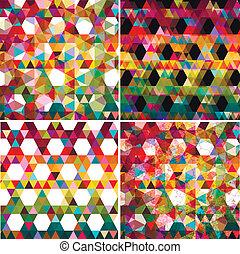komplet, barwny, abstrakcyjny, cztery, tło., geometryczny