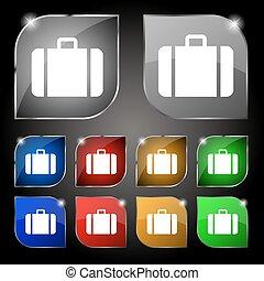 komplet, barwny, dziesięć, poznaczcie., glare., pikolak, wektor, walizka, ikona