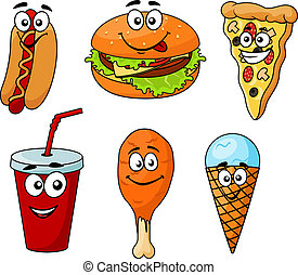 komplet, barwny, ikony, jadło, mocny, rysunek