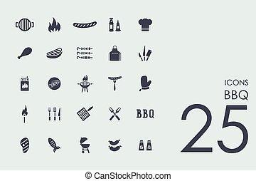 komplet, bbq, ikony