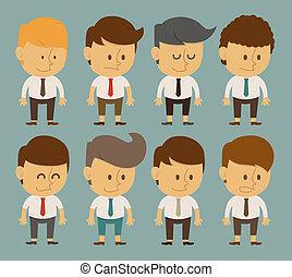 komplet, biurowy pracownik, litery, biznesmen, pozy