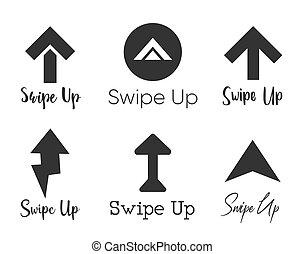 komplet, blogger., historie, projektować, odizolowany, do góry strzała, ikona, pictogram., logo, tło, woluta, swipe
