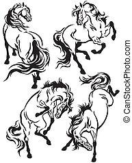 komplet, capstrzyk, konie