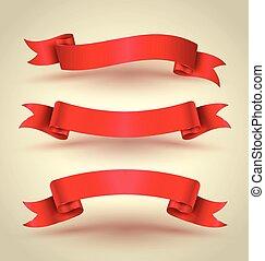 komplet, chorągiew, czerwona wstążka