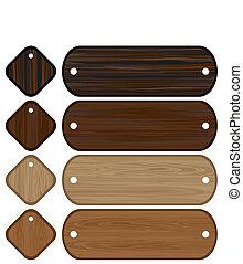 komplet, chorągwie, drewniany, etykiety