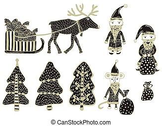 komplet, clipart., drzewa, jeleń, szczur, dary, rok, harnessed, tło., 3, 2, vector., pociągnięty, białe boże narodzenie, claus, claus, ręka, dary, święty, nowy, torba, sleigh