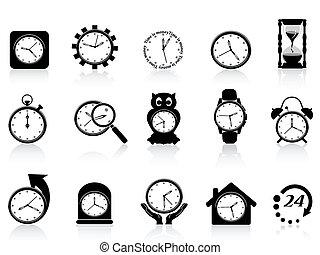 komplet, czarnoskóry, zegar, ikona
