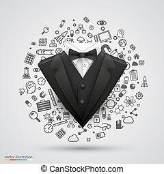 komplet, dżentelmen, icons., handlowy dostosowują