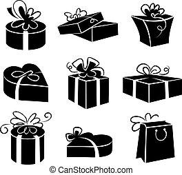 komplet, dar, ikony, kabiny, czarnoskóry, ilustracje, biały